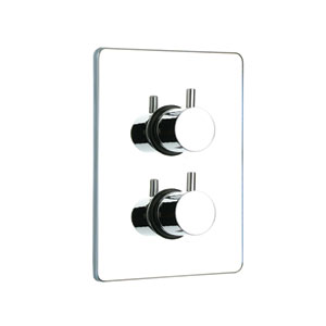 Luxe Polished Chrome Thermostatic Valve w/Square Plate