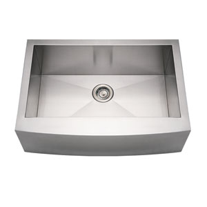 Noahs Brushed Stainless Steel 30-Inch Commercial Single Bowl Sink w/Arched Front Apron