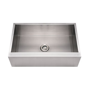 Noahs Brushed Stainless Steel 33-Inch Commercial Single Bowl Front Apron Sink