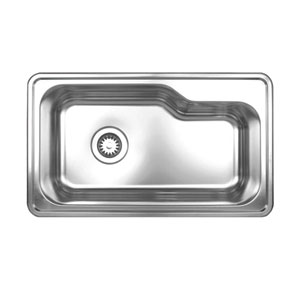 Noahs Brushed Stainless Steel 33.5-Inch Single Bowl Drop-In Sink