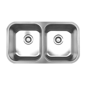 Noahs Brushed Stainless Steel 31.38-Inch Double Bowl Undermount Sink