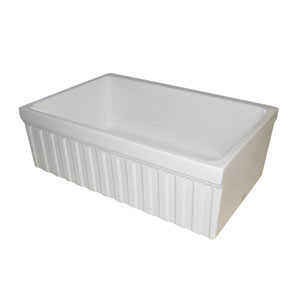 Fireclay Farmhaus White 30-Inch Quarto Alcove Reversible Fireclay Sink w/Fluted Front Apron & Decorative 2 1/2 Lip One Side &
