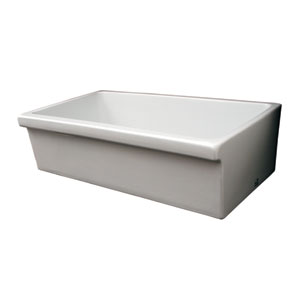 Fireclay Farmhaus White 36-Inch Large Quarto Alcove Reversible Fireclay Sink Decorative 2 1/2 Lip On One Side & 2 Lip On