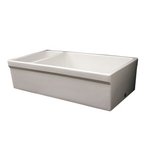 Fireclay Farmhaus White 36-Inch Large Quarto Alcove Reversible Fireclay Sink Decorative 2 1/2 Lip On One Side & 2 Lip On Other