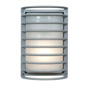 Bermuda Satin LED 11-Inch Outdoor Wall Sconce with Ribbed Frosted Glass Shade