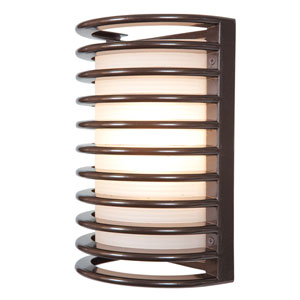 Bermuda Bronze LED 11-Inch Outdoor Wall Sconce with Ribbed Frosted Glass Shade