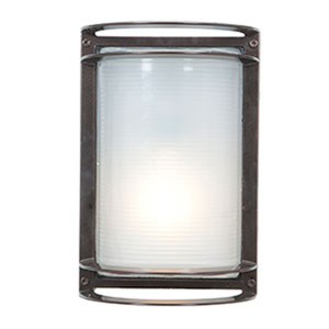 Nevis Bronze LED Outdoor Wall Sconce with Ribbed Frosted Glass Shade
