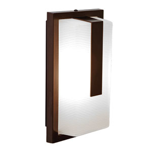 Neptune Bronze LED Outdoor Wall Sconce with Ribbed Frosted Glass Shade
