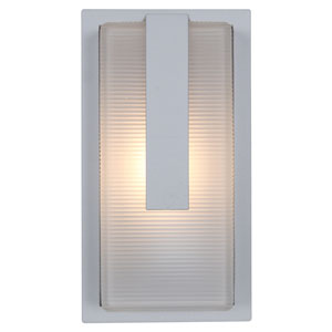 Neptune Satin LED Outdoor Wall Sconce with Ribbed Frosted Glass Shade