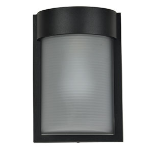Destination Black LED Outdoor Wall Sconce with Ribbed Frosted Glass Shade