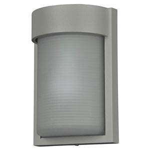 Destination Satin LED Outdoor Wall Sconce with Ribbed Frosted Glass Shade