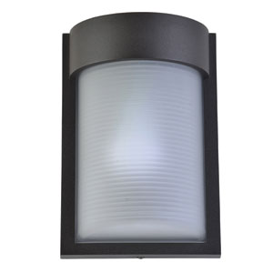 Destination Bronze LED Outdoor Wall Sconce with Ribbed Frosted Glass Shade
