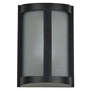 Pier Black LED Outdoor Wall Sconce with Ribbed Frosted Glass Shade