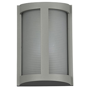 Pier Satin LED Outdoor Wall Sconce with Ribbed Frosted Glass Shade