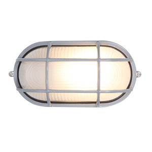 Nauticus Satin One-Light Outdoor Wall Mount with Frosted Glass and Metal Cage
