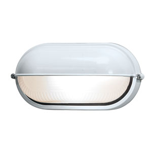Nauticus White One-Light Outdoor Wall Mount with Frosted Glass