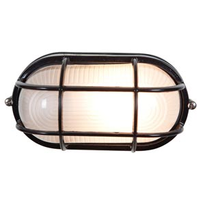 Nauticus Black One-Light Outdoor Wall Light with Frosted Glass