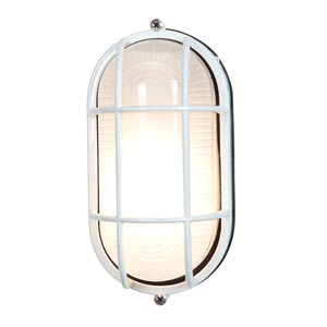 Nauticus White One-Light Outdoor Wall Light with Frosted Glass