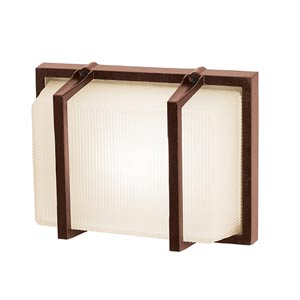 Neptune Bronze One-Light Outdoor Wall Light with Ribbed Frosted