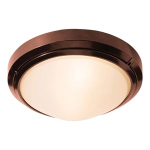 Oceanus Bronze One-Light Outdoor Flush Mount with Frosted Glass