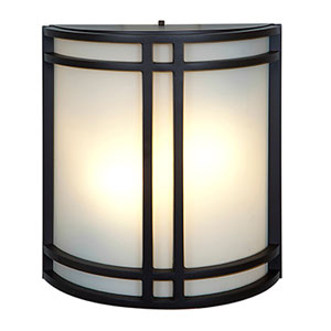 Artemis Bronze Fluorescent Two-Light Outdoor Wall Mount with Opal Glass