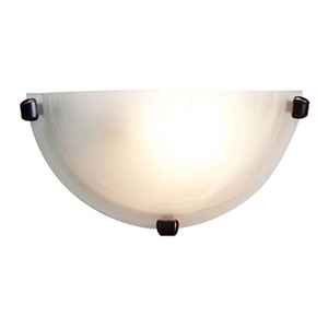 Mona Oil Rubbed Bronze One-Light Wall Sconce with Alabaster Glass