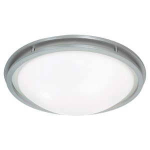 Aztec Brushed Steel 14-Inch Wide LED Flush Mount with White Glass