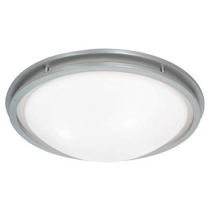 Aztec Brushed Steel 17-Inch Wide LED Flush Mount with White Glass