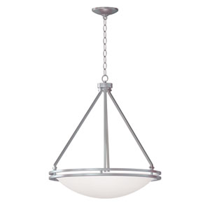 Aztec Brushed Steel Five-Light Bowl Pendant