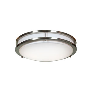 Solero Brushed Steel Two-Light 14-Inch Flush Mount with Acrylic Lens