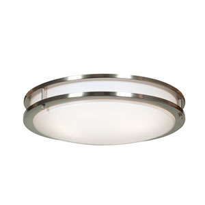 Solero Brushed Steel Three-Light 18-Inch Flush Mount with Acrylic Lens