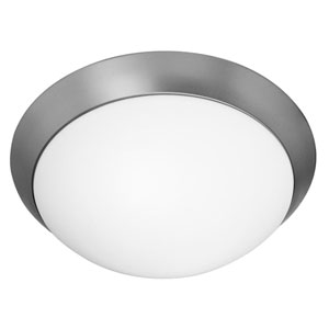 Cobalt Brushed Steel Three-Light Flush Mount Fixture
