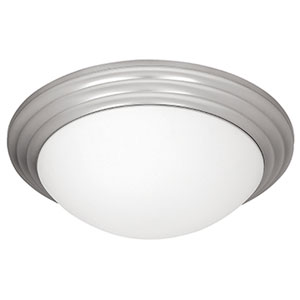 Strata Brushed Steel One-Light 10-Inch Flush Mount with Opal Glass
