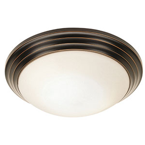 Strata Oil Rubbed Bronze 10-Inch Flush Mount with Opal Glass