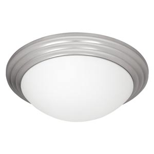 Strata Brushed Steel Two-Light Flush Mount with Opal Glass