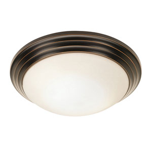 Strata Oil Rubbed Bronze 16-Inch LED Flush Mount with Opal Glass