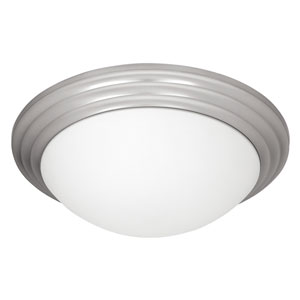 Strata Brushed Steel 16-Inch LED Flush Mount with Opal Glass