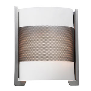 Iron Brushed Steel LED Wall Sconce with Opal Glass