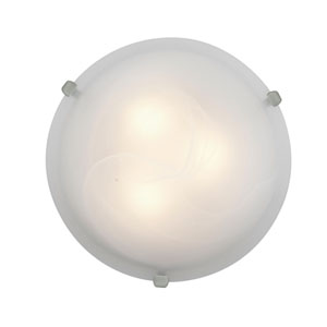 Mona Brushed Steel Two-Light 12-Inch Flush Mount with Alabaster Glass