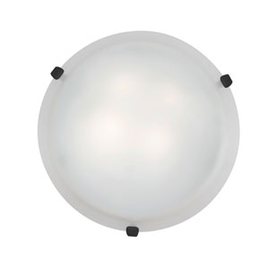 Mona Rust Two-Light 12-Inch Flush Mount with White Glass