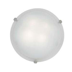 Mona Brushed Steel Fluorescent Two-Light 16-Inch Flush Mount with White Glass