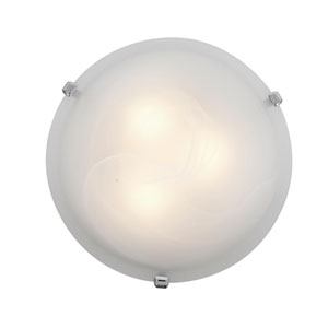 Mona Chrome Fluorescent Two-Light 16-Inch Flush Mount with Alabaster Glass