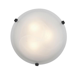 Mona Rust Fluorescent Two-Light 16-Inch Flush Mount with Alabaster Glass