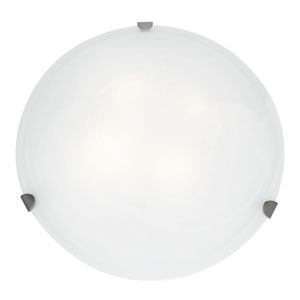 Mona Brushed Steel Fluorescent Three-Light 20-Inch Flush Mount with White Glass