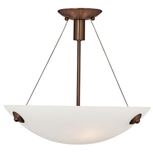 Noya Bronze Three-Light Semi Flush with White Glass