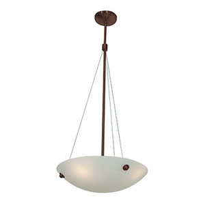 Noya Bronze Four-Light 18-Inch Pendant with White Glass
