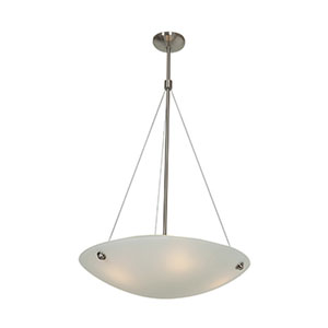 Noya Brushed Steel Four-Light 24-Inch Pendant with White Glass