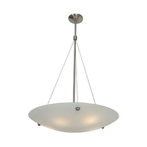 Noya Brushed Steel Five-Light 28-Inch Pendant with White Glass