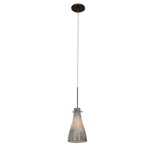 Cavo Bronze One-Light Mini-Pendant with Flat Canopy and White Glass
