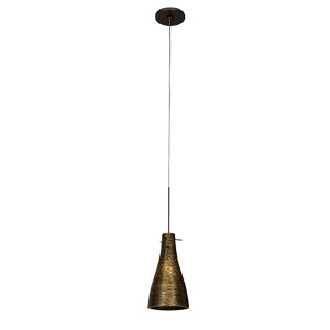 Cavo Bronze One-Light Mini-Pendant with Flat Canopy and Gold Glass